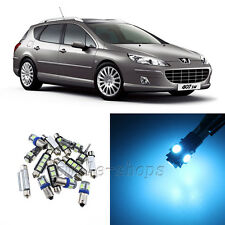 Error Free Ice Blue 9pcs Interior LED Light Kit for 2004-2010 Peugeot 407 SW