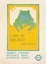 I am at the Zoo, 1923, English Travel London Underground Art Deco Poster
