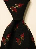 GIORGIO ARMANI Cravatte Mens 100% Silk Necktie ITALY Luxury FLORAL Black/Red EUC