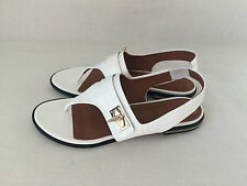 GIVENCHY WHITE Leather Slingback Thong Shark-Tooth Flat Sandal Shoes. Size 10