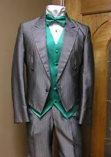 40L Silver Tuxedo Jacket Short Coat Formal Steampunk Cosplay Wedding 711AE