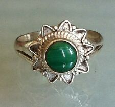 Sterling Silver Traditional Asian Vintage Style Malachite Ring Size N 1/2 Gift