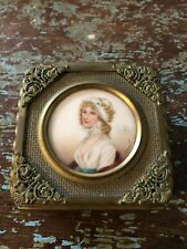 Antique French Gilded Metal Signed Jean Derval Portrait trinket jewelry Box.