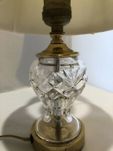 """12"""" Waterford Lamp beautifully cut crystal small lamp with shade"""