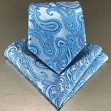 Men's Turquoise Blue Neck tie and Pocket Square Hankie Set Formal Wedding 600-R