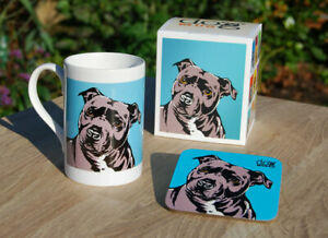 Staffordshire Bull Terrier - porcelain mug gift set with coaster and gift box.