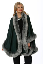 Emerald Frost Fox Fur Trimmed Cashmere Cape for Women