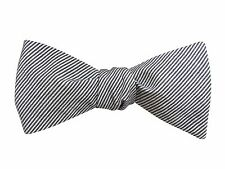 Bow Tie | Handmade Grey & White Striped Chambray Bow Tie | Self-Tie