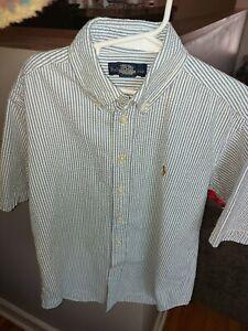 Polo Ralph Lauren Seersucker Shirt Size S (8-10) Blue/ White