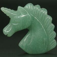 "1.8"" Natural Stone Green Aventurine Carved Crystal Unicorn Reiki Healing Statue"