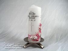 Patenkerze Godfather Candle (Angelina) mini Kreuz Altrosa NEU