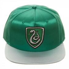 HARRY POTTER SATIN SLYTHERIN CREST LOGO SNAPBACK HAT CAP FLAT BILL RETRO PATCH