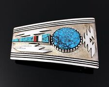NAVAJO STERLING SILVER MOSAIC INLAY & TURQUOISE BELT BUCKLE by LEO YAZZIE