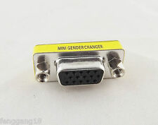 VGA/SVGA 15 Pin DB15 Female To Female D-SUB 3 Rows Mini Gender Changer Adapter