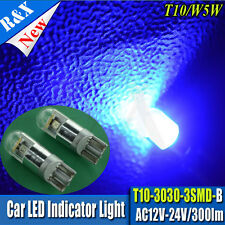 2X SMD 3030 LED 12V-24V AC Blue 501 T10 W5W SIDELIGHT WEDGE PLATE INTERIOR BULBS