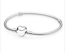 Love Heart Buckle Silver Snake Chain Bracelet Fit European Bead With Logo 20cm