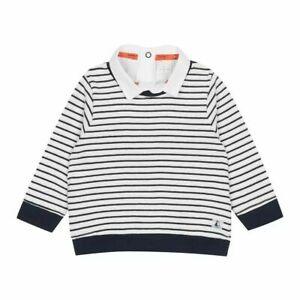Jasper Conran Baby Boy White Navy Striped Cotton Jumper Sweater Top 3 6 9 12