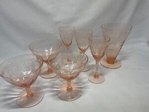 Vintage Pink Depression Glass - Etched - Stems - 3+3+1