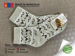 Made in Mongolia Socks 100% Sheep Wool socks UNISEX Size EU35-36 US5 Natural