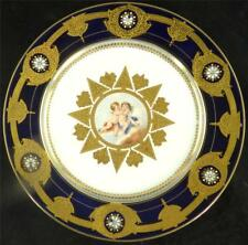 ANTIQUE  FRENCH SEVRES STYLE PORCELAIN PLATE CHERUBS GILT COBALT BLUE ENAMEL b