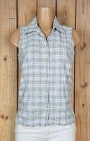 GLORIA VANDERBILT Womens Size Medium Sleeveless Shirt Button Plaid Cotton Top