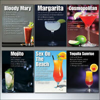6 Classic Cocktail vintage recipe drinks fridge magnets