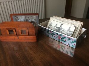 ANTIQUE EDWARDIAN STEREOSCOPE VIEWER WITH STEREOVIEWS CARDS.PHOTOGRAPHS.