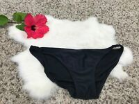Xhilaration Woman Swimwear Bikini Bottom Black Stretch Lined Ruched Sz M