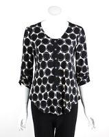 Joseph Ribkoff Tunic Top Blouse Scoop Neck 3/4 Sleeves Circle Print Size 8 New