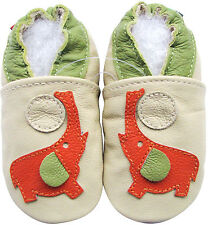 carozoo elephant cream 4-5y soft sole leather kids shoes
