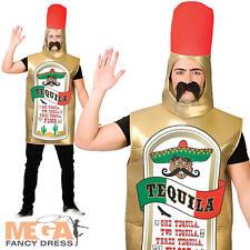 Botella de tequila mexicano para Hombre Adulto Vestido Elaborado Disfraz de fiesta de alcohol bebida Stag