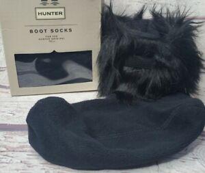 New Hunter Boot Socks Original Tall Faux Fur Cuff Size M Medium Black