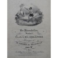DE BEAUPLAN Amédée Les Hirondelles Chant Piano ca1830 partition sheet music scor