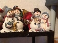Christmas Pair Of Snowman Figures & Poinsettia Vintage Home Interiors Gifts Gtc