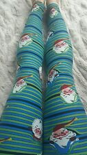 Lularoe Christmas Peekaboo Santa Stripe Leggings OS NWT Major Unicorn 2016