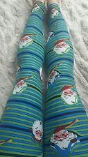 Lularoe Christmas Peekaboo Santa Stripe Leggings OS NWT Major Unicorn 2016
