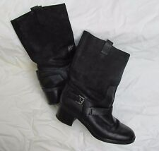 Ralph Lauren Cacey black suede and leather mid calf boots Womens 7.5