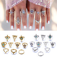 10Pc Bohemian Vintage Women Silver Elephant Turquoise Finger Rings Punk Gift