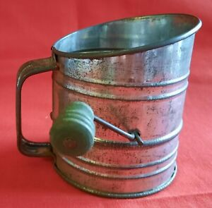 VINTAGE Child-Size, Toy, Miniature Flour Sifter Wooden GREEN HANDLE, Works!