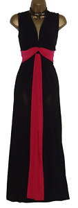 Long Black/Red Grecian Knot Panel Maxi Evening Party Dress Prom-Ball-Wedding