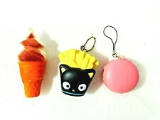 Lot of 3-  Foam SQUISHY Figure Key Chains Macaroon - French Fries - Ice cream
