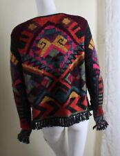 Peruvian Connection Sz L AMAZING Indian Art-to-Wear Alpaca Cardigan Sweater Lux