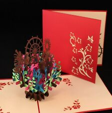 POP UP 3D card - colourful garden display (anniversary,  Mother's Day)