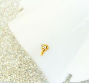 Indian Ethnic Tiny Golden Nose Ring Women Gift Jewelry Crock Screw Nose Ear Pin