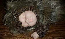 "Vintage 1999 Anne Geddes 9"" Baby Hedgehog Beanie Stuffed Animal Cute Toy Doll"