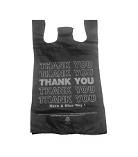 "100 Black Thank You T-shirt Shopping Bags with Handles 10""x5""x18 Heavy Duty"