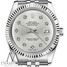 Rolex 26mm Datejust Silver Dial w 10 Round Diamond Numbers Steel Womens Watch