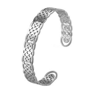 Celtic Knot Work Bracelet Womens Silver Stainless Steel Viking Norse Cuff