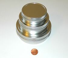 2 oz, 4 oz, & 8 oz Round Shallow Survival Tins With Screw Top Lids Craft Use NEW