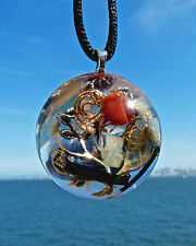 TREE OF LIFE Positive Energy Dome Pendant with AQUAMARINE and BLACK TOURMALINE.